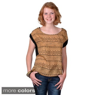Journee Collection Women's Short Sleeve Aztec Print Top