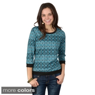 Journee Collection Women's Three-quarter Sleeve Round Neck Sweater Top
