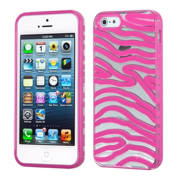 INSTEN Transparent/ Hot Pink Zebra Phone Case Cover for Apple iPhone 5/ 5S