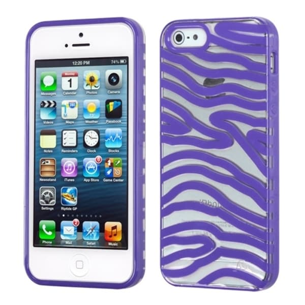 INSTEN Transparent/ Purple Zebra Phone Case Cover for Apple iPhone 5/ 5S