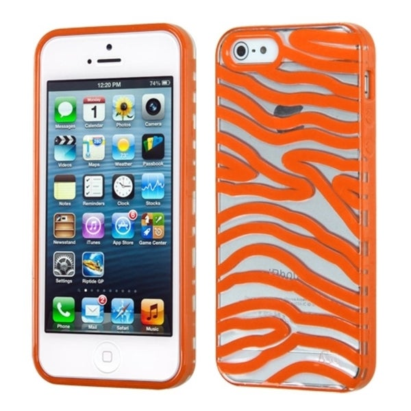 INSTEN Transparent/ Orange Zebra Phone Case Cover for Apple iPhone 5/ 5S