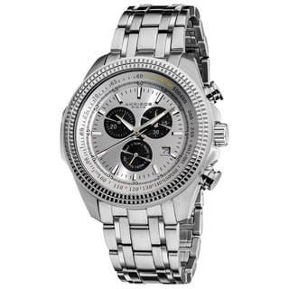 Akribos XXIV Men's Chronograph Tachymeter Silvertone Stainless Steel Bracelet Watch