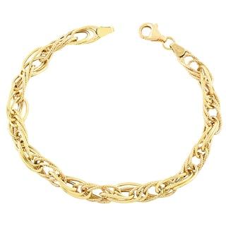 Fremada 10k Yellow Gold Fancy Interlock Twist Bracelet (7.5-inch)