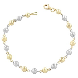 Fremada 10k Two-tone Alternate Yellow and White Diamond-cut Ball Bracelet (7.5-inch)