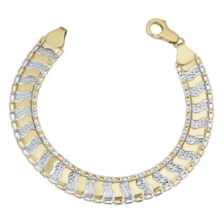 Fremada 10k Two-tone Gold Alternating Diamond-cut Scale Link Bracelet (7.5-inch)