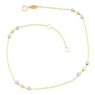 Fremada 10k Two-tone Gold Diamond-cut Beads Station Anklet (10-inch)