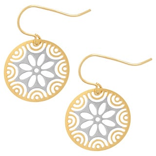 Fremada 10k Two-tone Gold Cutout Flower Dangle Earrings