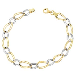 Fremada 10k Two-tone Gold Twist Alternating Oval/ Circle Bracelet (7.5-inch)