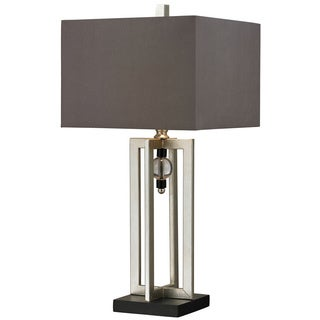 Crystal Accented 1-light Silver Leaf Table Lamp