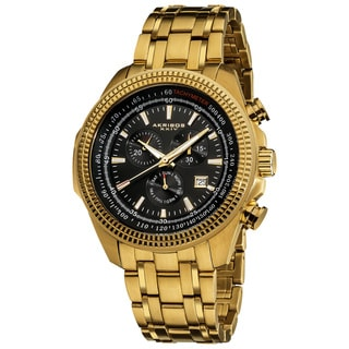 Akribos XXIV Men's Goldtone Chronograph Tachymeter Stainless Steel Watch