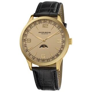Akribos XXIV Men's Swiss Quartz Moon Phase Leather Strap Watch with Goldtone Dial