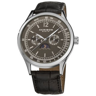Akribos XXIV Men's Swiss Quartz Moon Phase Leather Strap Watch with Taupe Dial