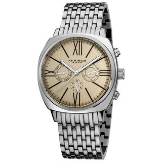 Akribos XXIV Men's Quartz Silvertone Multifunction Vintage Stainless Steel Watch