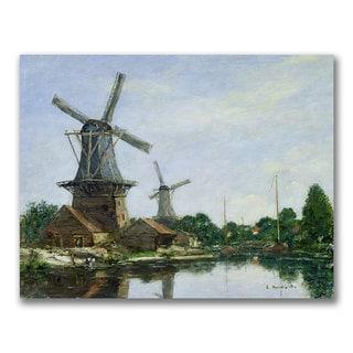 Eugene Boudin 'Dutch Windmills' Canvas Art
