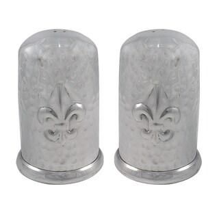 Handcrafted Aluminum Hammered Fleur de Lis Salt and Pepper Shaker Set (India)