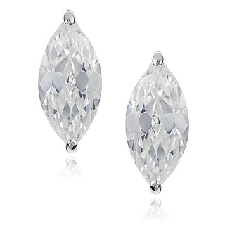 Journee Collection Silver-tone Cubic Zirconia Marquis Stud Earrings