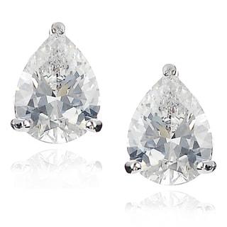 Journee Collection Silver-tone Cubic Zirconia Teardrop Stud Earrings