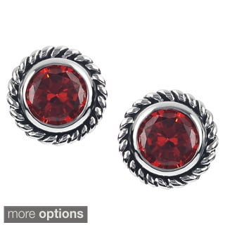 Journee Collection Silver-tone Cubic Zirconia Round Stud Earrings
