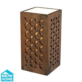HGTV HOME Wooden Up Light 1-light Dark Stained Table Lamp