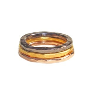 Bita Pouravoosi 24k Yellow Gold/ Rose Gold and Gun Metal Plated Stackable Rings Set (Set of 3)