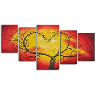 'Branching out to love' 5-piece Hand Painted Oil Painting