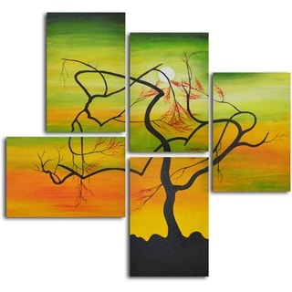 'Serpentine tree panels' 5-piece Hand Painted Oil Painting