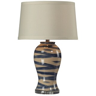 HGTV HOME Blue/Off-White Hand-painted Ceramic Table Lamp