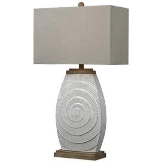 HGTV HOME Glazed Ceramic 1-light Off-white Table Lamp