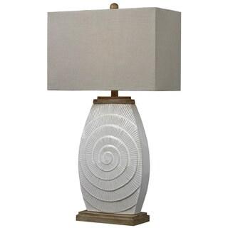 Glazed Ceramic 1-light Off-white Table Lamp