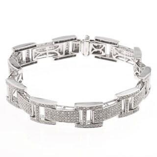 Sterling Silver 4ct TDW Mens Diamond Bracelet (H-I, SI1-SI2)