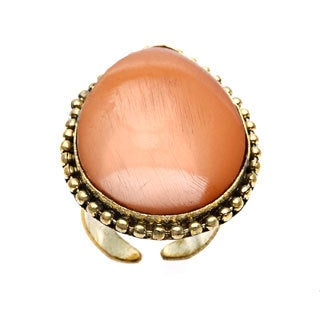 Saira Stone Coral Adjustable Ring (India)