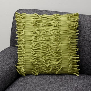 Fringed style Ginger Olive cotton Decorative Pillow (India)