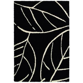 Moonwalk Laurel Leaf/ Black-White Power-loomed Rug (1'8 x 3'7)