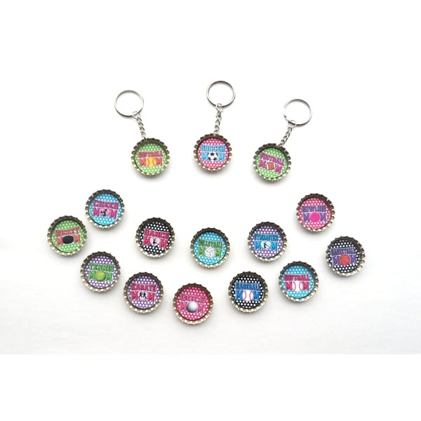Sports Mom Bottle Cap Keychain