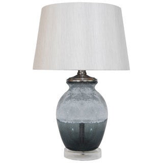 HGTV HOME Grey Smoked and Frosted Glass Table Lamp