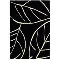 Moonwalk Laurel Leaf/ Black-White Power-loomed Area Rug (5'3 x 7'6)
