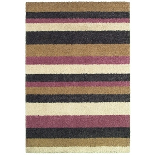 Moonwalk Celestial Stripes/ Cream-Cameo Rose Area Rug (5'3 x 7'6)