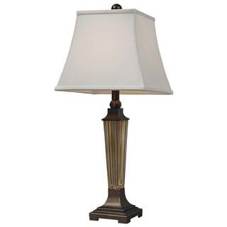 1-Light Amber Smoked Glass Table Lamp