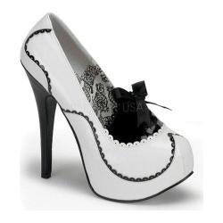 Women's Bordello Teeze 01 White/Black Patent