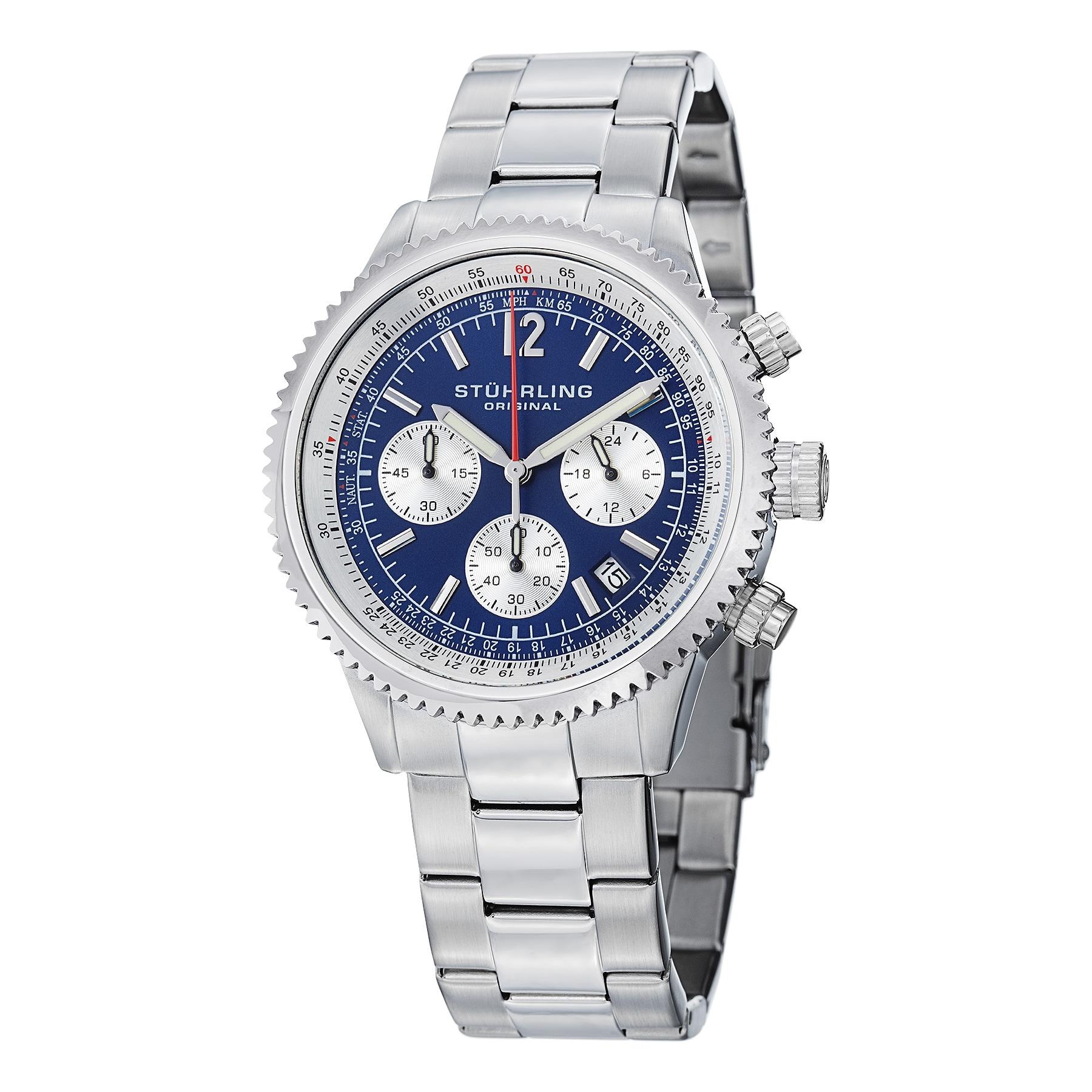 Stuhrling Original Men's Chronograph Monaco Stainless steel Bracelet Watch
