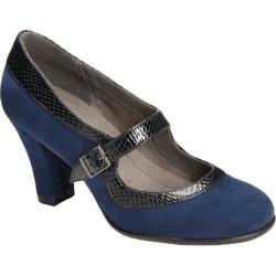 Women's A2 by Aerosoles Dice Role Blue Combo Faux Suede/Snake Embossed Faux Leather