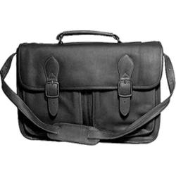 David King Leather 165 Top Handle Flap Over Portfolio Triple Gusset Black