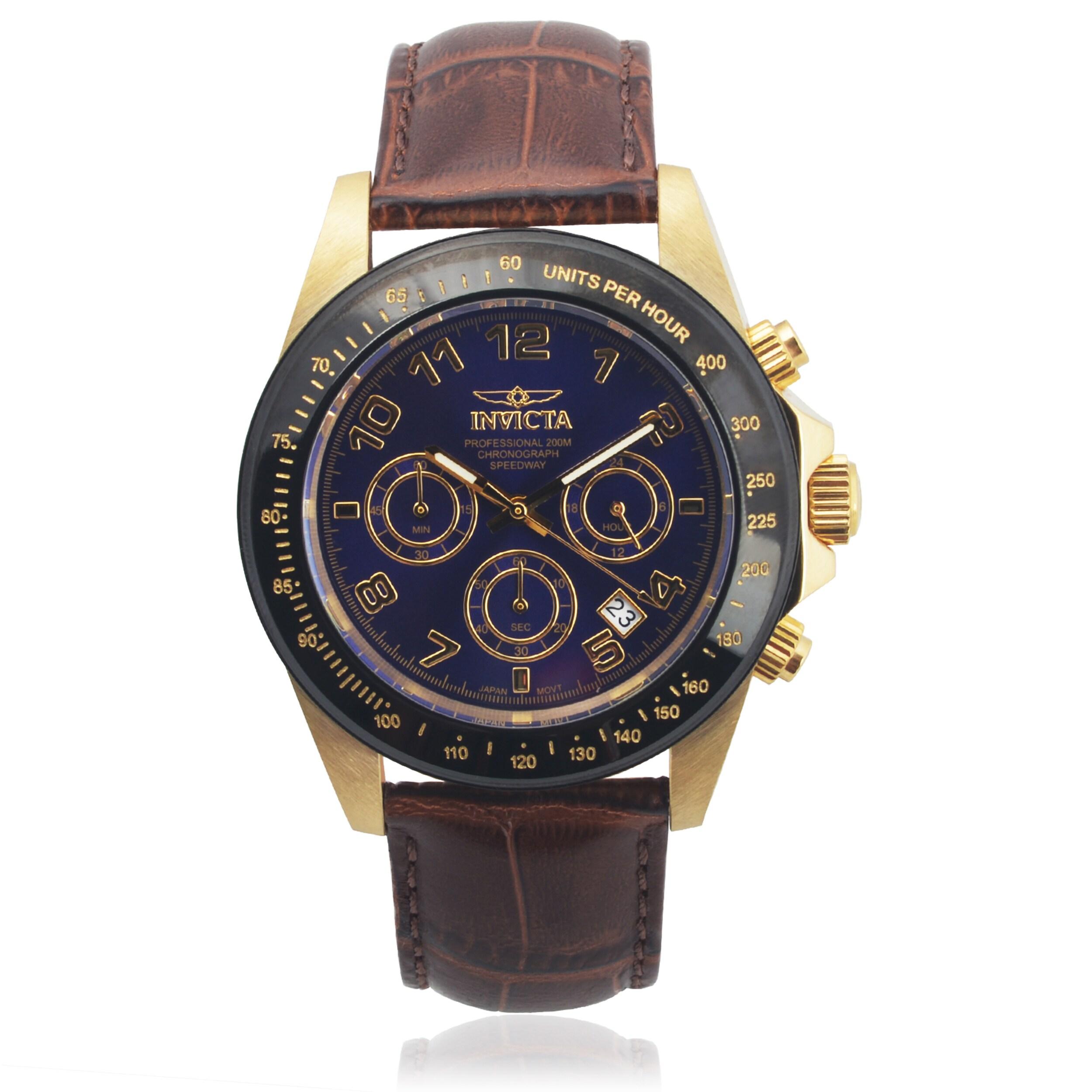 Invicta Men's 10710 Genuine Leather 'Speedway' Quartz Watch