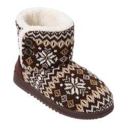 Women's Dearfoams Mixed Material Boot Brown Multi