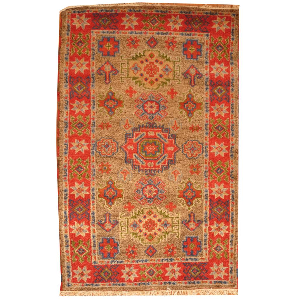 Herat Oriental Indo Hand-knotted Kazak Grey/ Red Wool Rug (3' x 5')