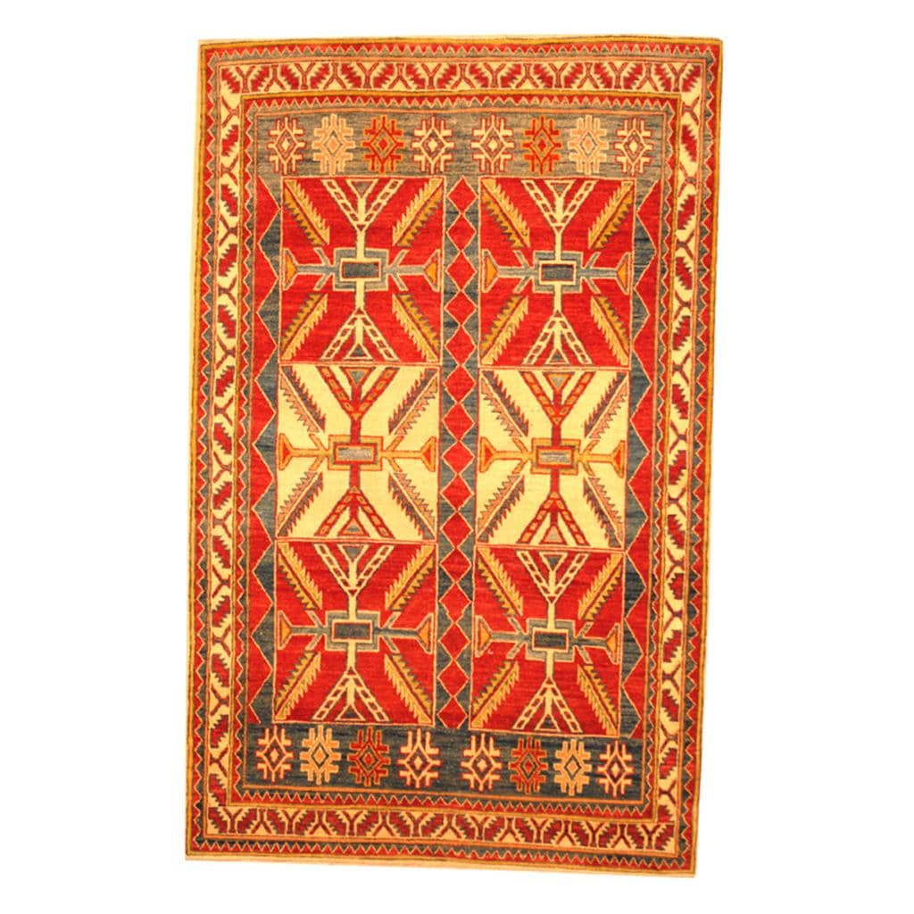 Herat Oriental Afghan Hand-knotted Tribal Kazak Red/ Beige Wool Rug (4'2 x 6'6)