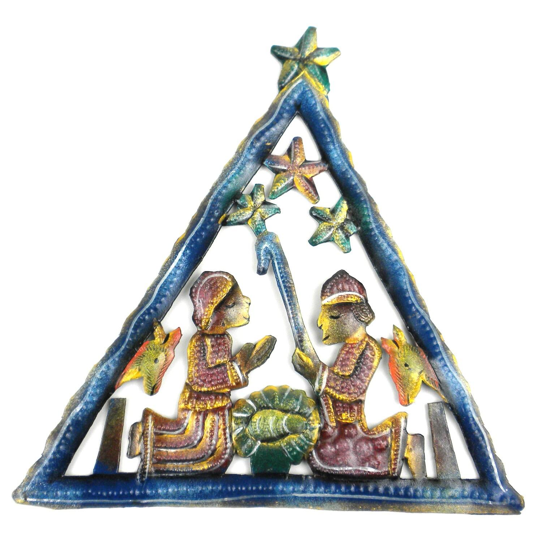 Painted Triangle Nativity Wall Art (Haiti)