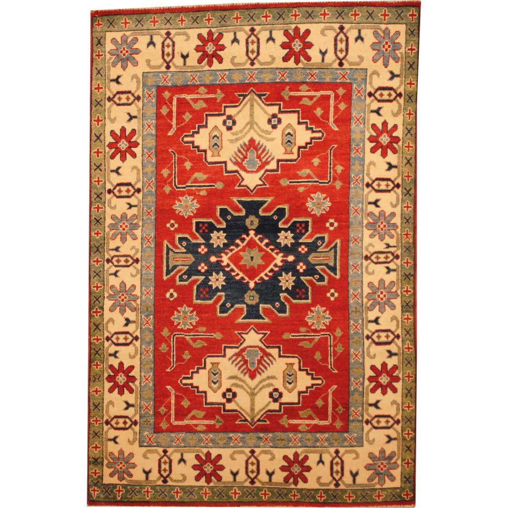 Herat Oriental Afghan Hand-knotted Kazak Red/ Beige Wool Rug (4' x 6'1)