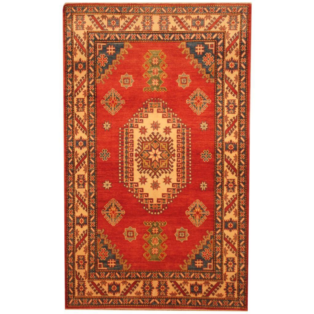 Herat Oriental Afghan Hand-knotted Kazak Red/ Beige Wool Rug (4'1 x 6'2)