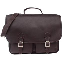 Piel Leather Executive Two Pocket Portfolio Chocolate Leather
